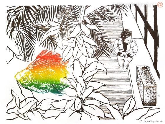 Praca Zuzanny Szymborskiej, spacerująca kobieta, widok z góryj
