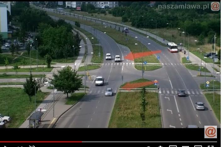 Widok z policyjnego drona na mazowieckich drogach